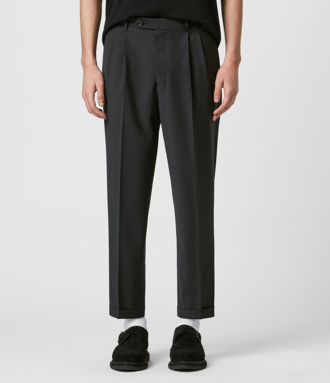AllSaints Men's Wool Lightweight Portman Cropped Straight Trousers, Grey, Size: 30
