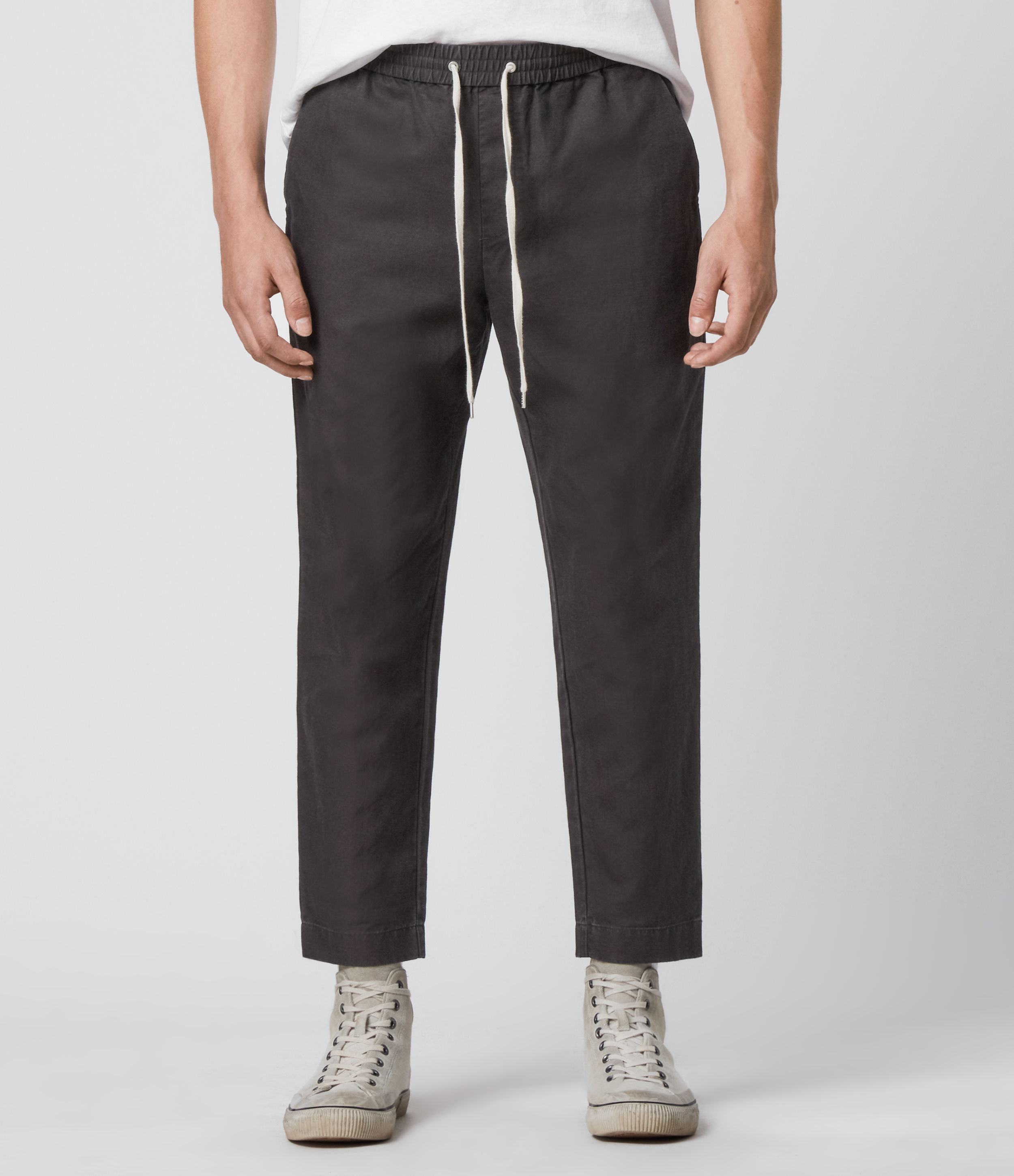 AllSaints Luckett Linen Blend Cropped Slim Trousers