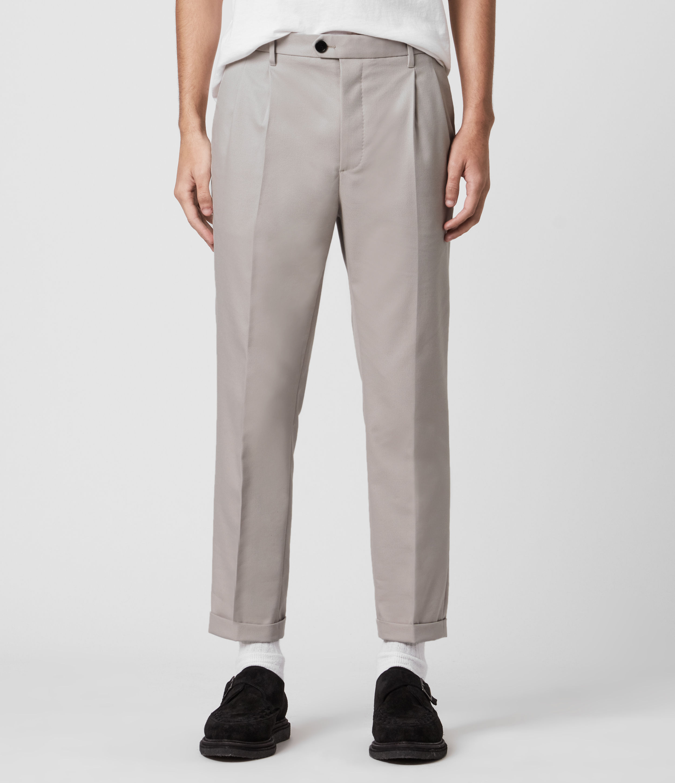 AllSaints Mens Tallis Cropped Slim Trousers, Grey, Size: 36