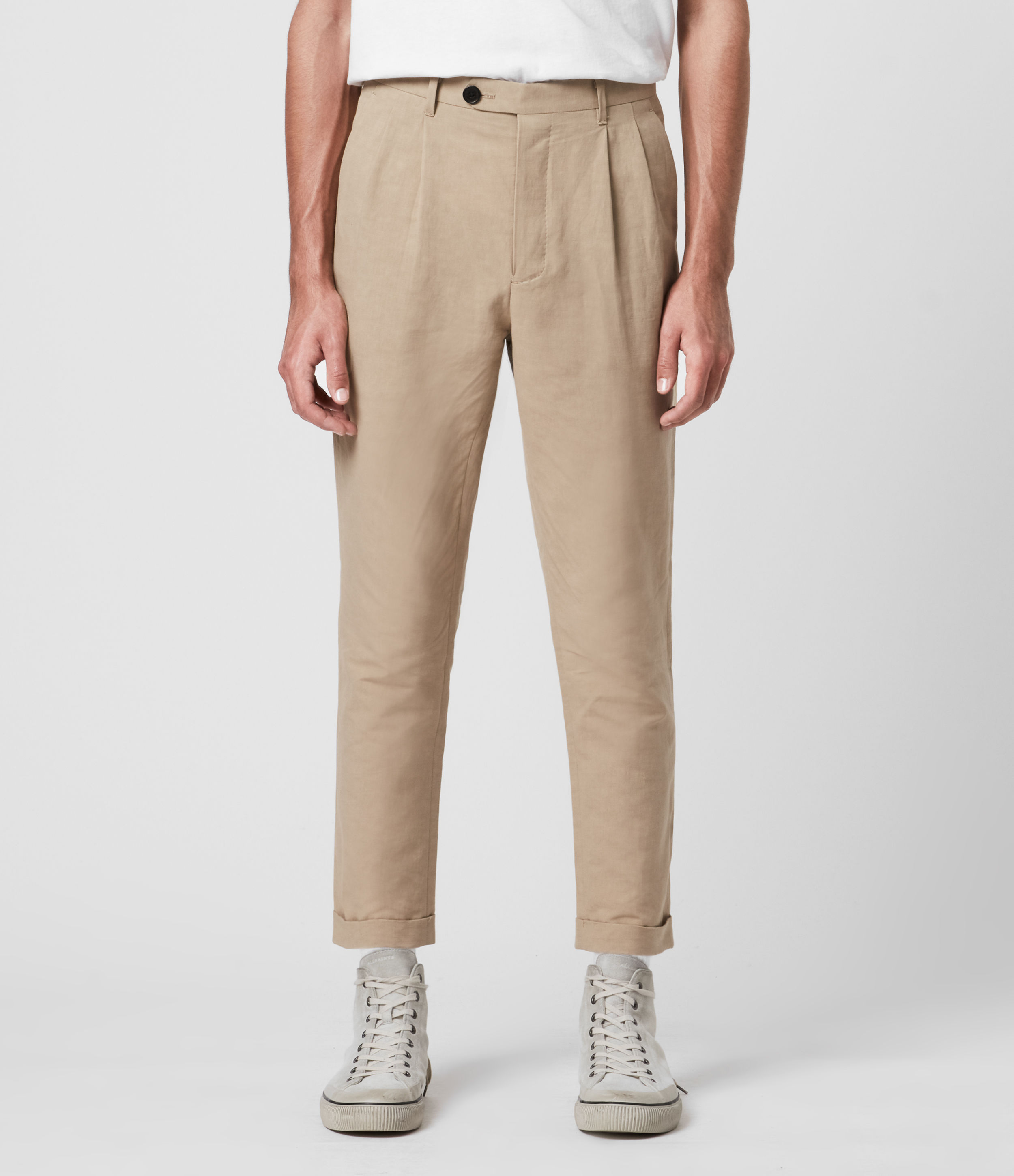 AllSaints Chiswell Linen Blend Cropped Slim Trousers