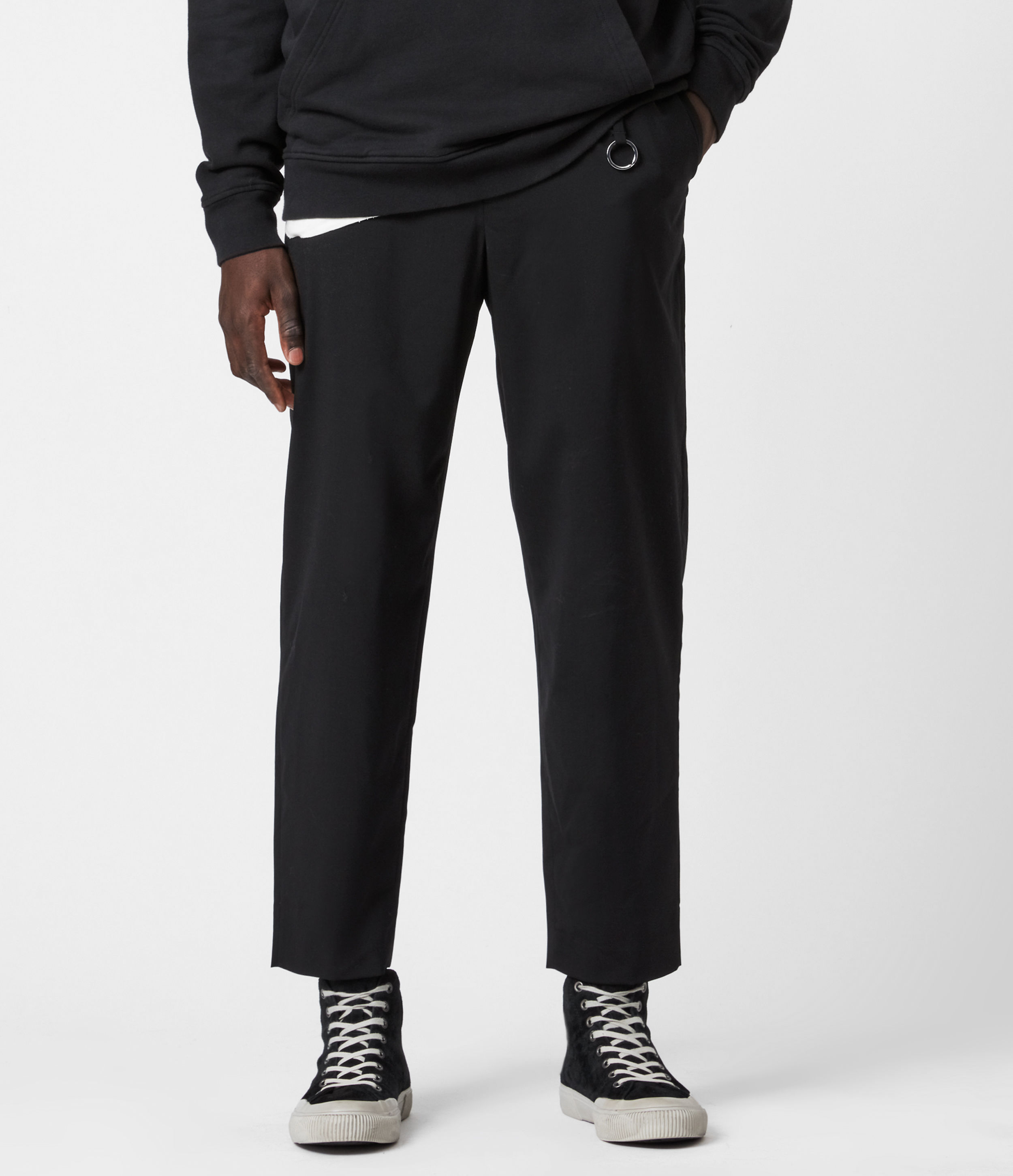 AllSaints Mens Langley Straight Cropped Trousers, Black, Size: 28