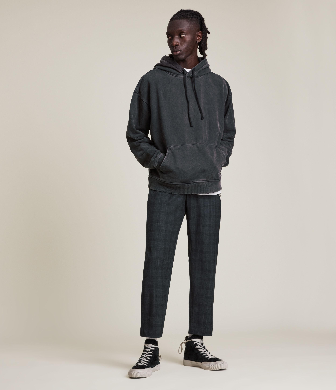 AllSaints Men's Bout Cropped Slim Trousers, Charcoal, Size: 38