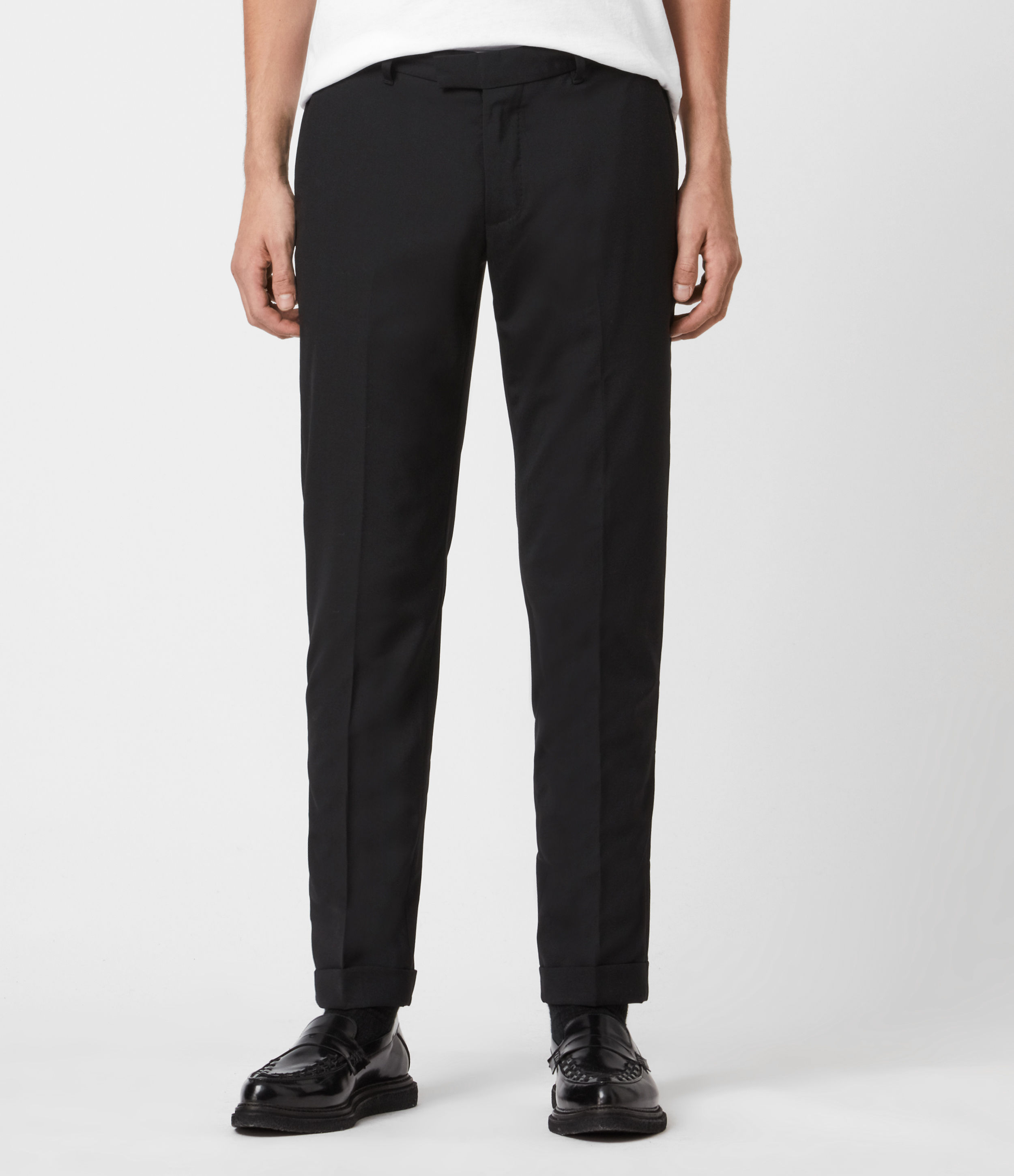 AllSaints Mens Oakes Slim Cropped Trousers, Black, Size: 28
