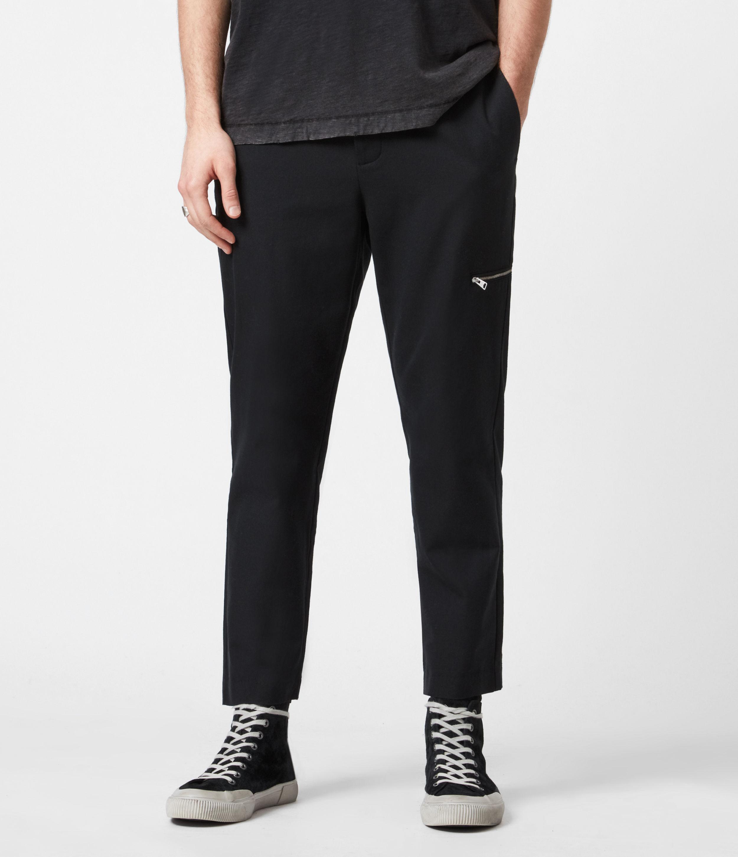 AllSaints Men's Harding Slim Cropped Trousers, Black, Size: 32