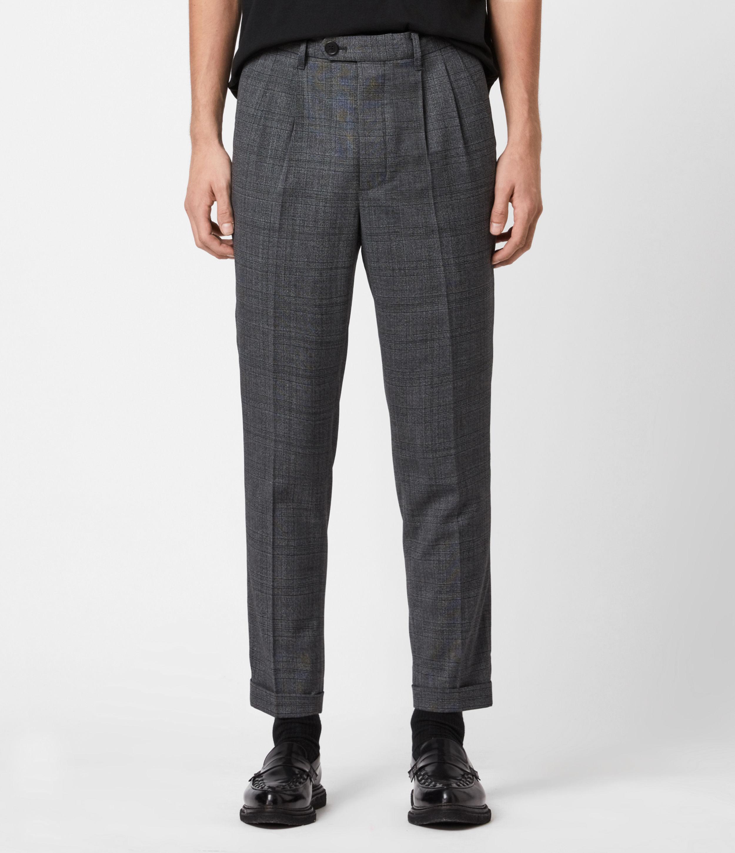 AllSaints Mens Batalha Cropped Slim Trousers, Charcoal, Size: 36
