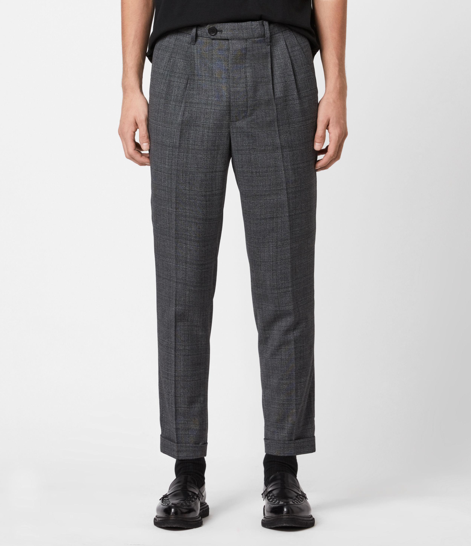 AllSaints Men's Batalha Cropped Slim Trousers, Charcoal, Size: 36
