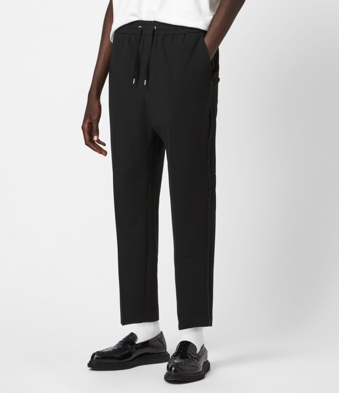 AllSaints Mens Alcor Cropped Slim Trousers, Black, Size: 28