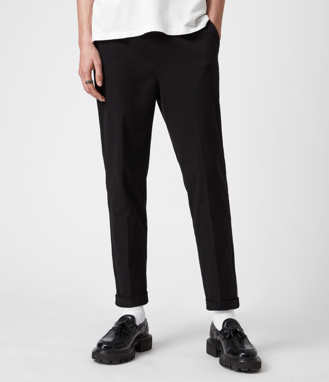 AllSaints Mens Dix Cropped Slim Trousers, Black, Size: 32