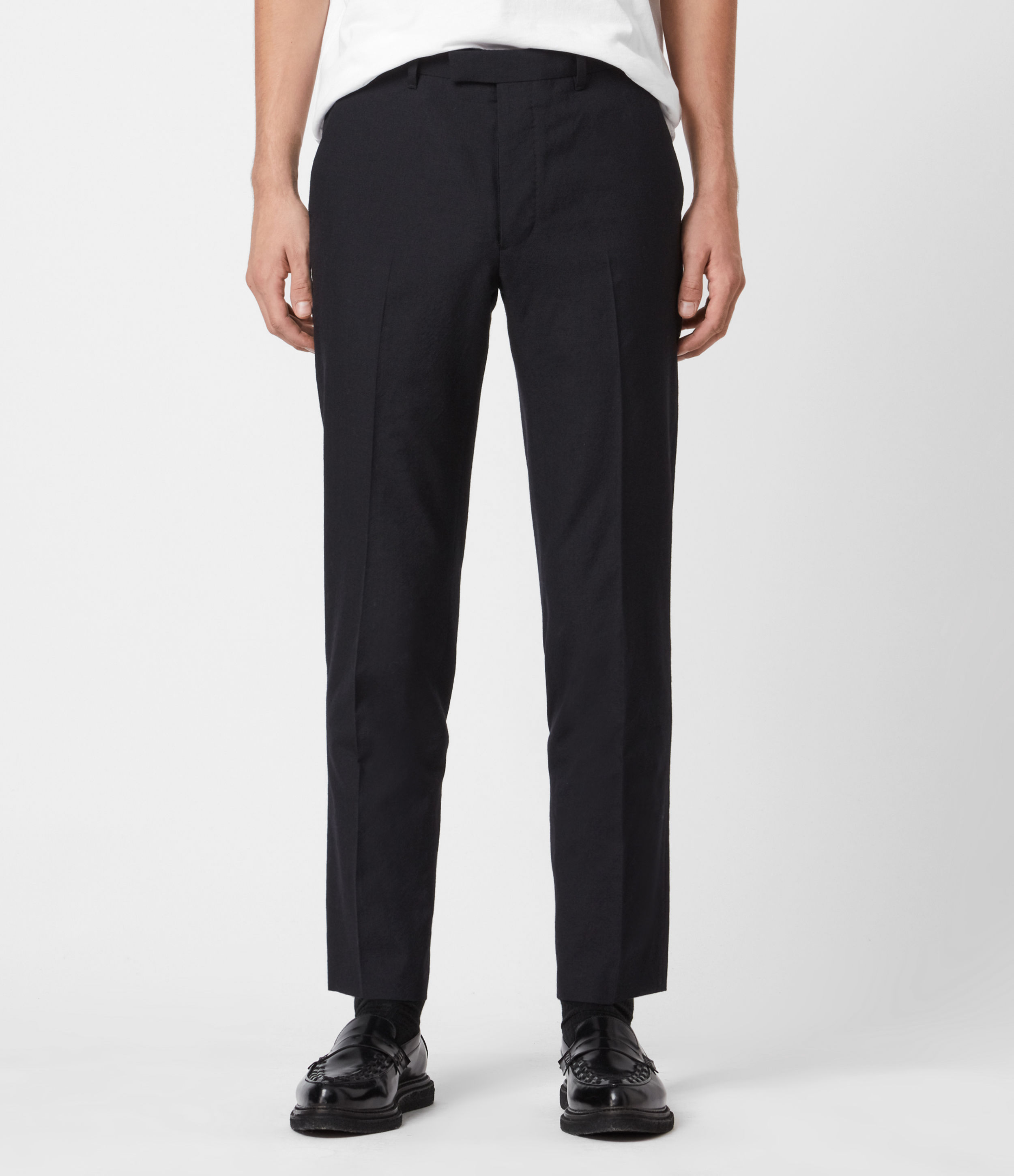 AllSaints Mens Kennel Cropped Slim Trousers, Midnight, Size: 28
