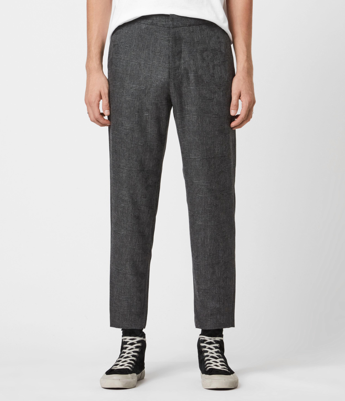 AllSaints Men's Wool Slim Fit Kite Cropped Trousers, Grey, Size: 32