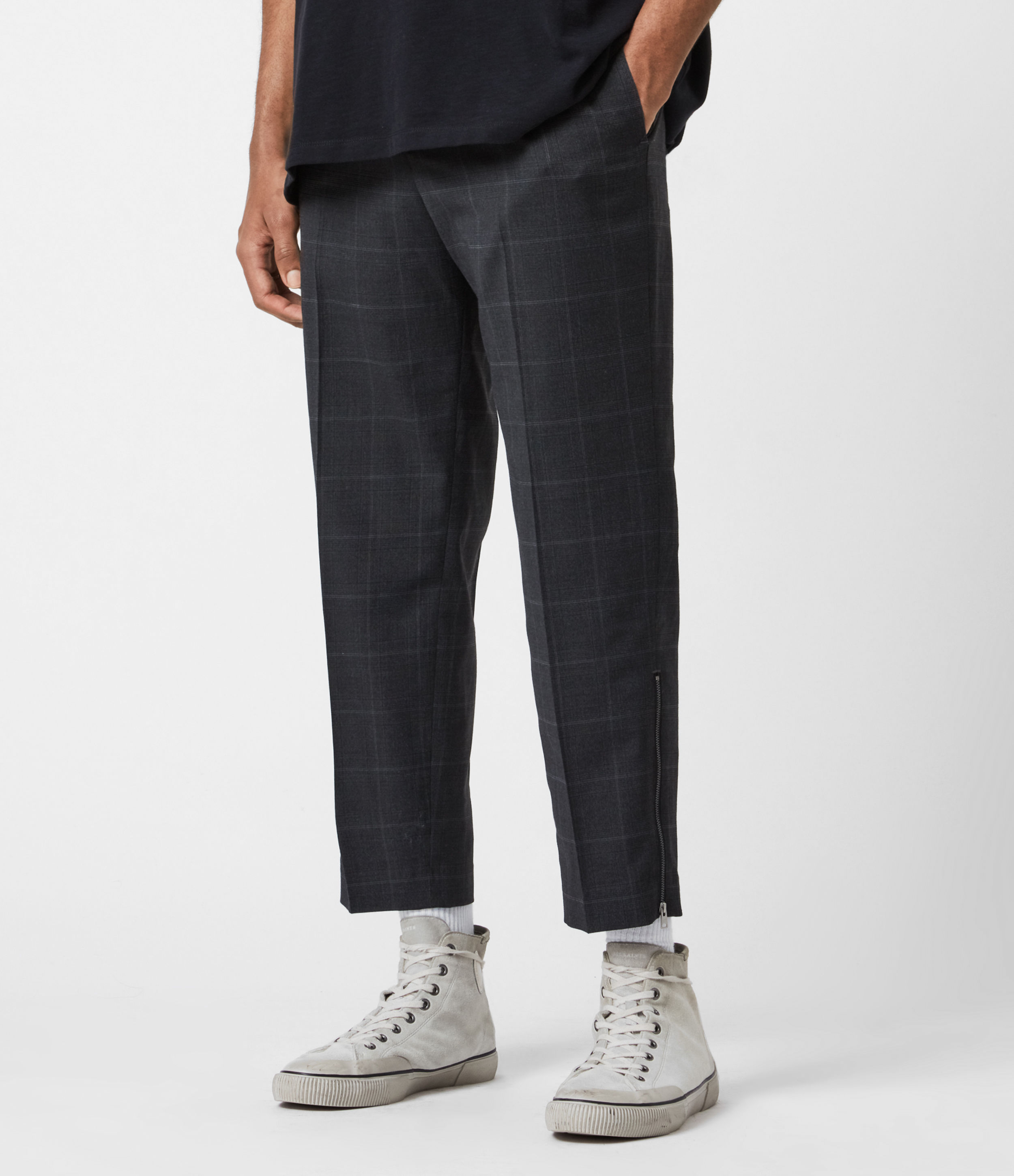 AllSaints Mens Garth Cropped Slim Trousers, Charcoal, Size: 32