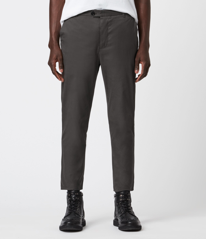 AllSaints Men's Kato Cropped Slim Trousers, Smoke Green, Size: 30