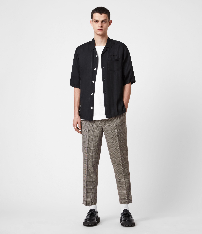 AllSaints Men's Glebe Cropped Slim Trousers, Grey, Size: 32
