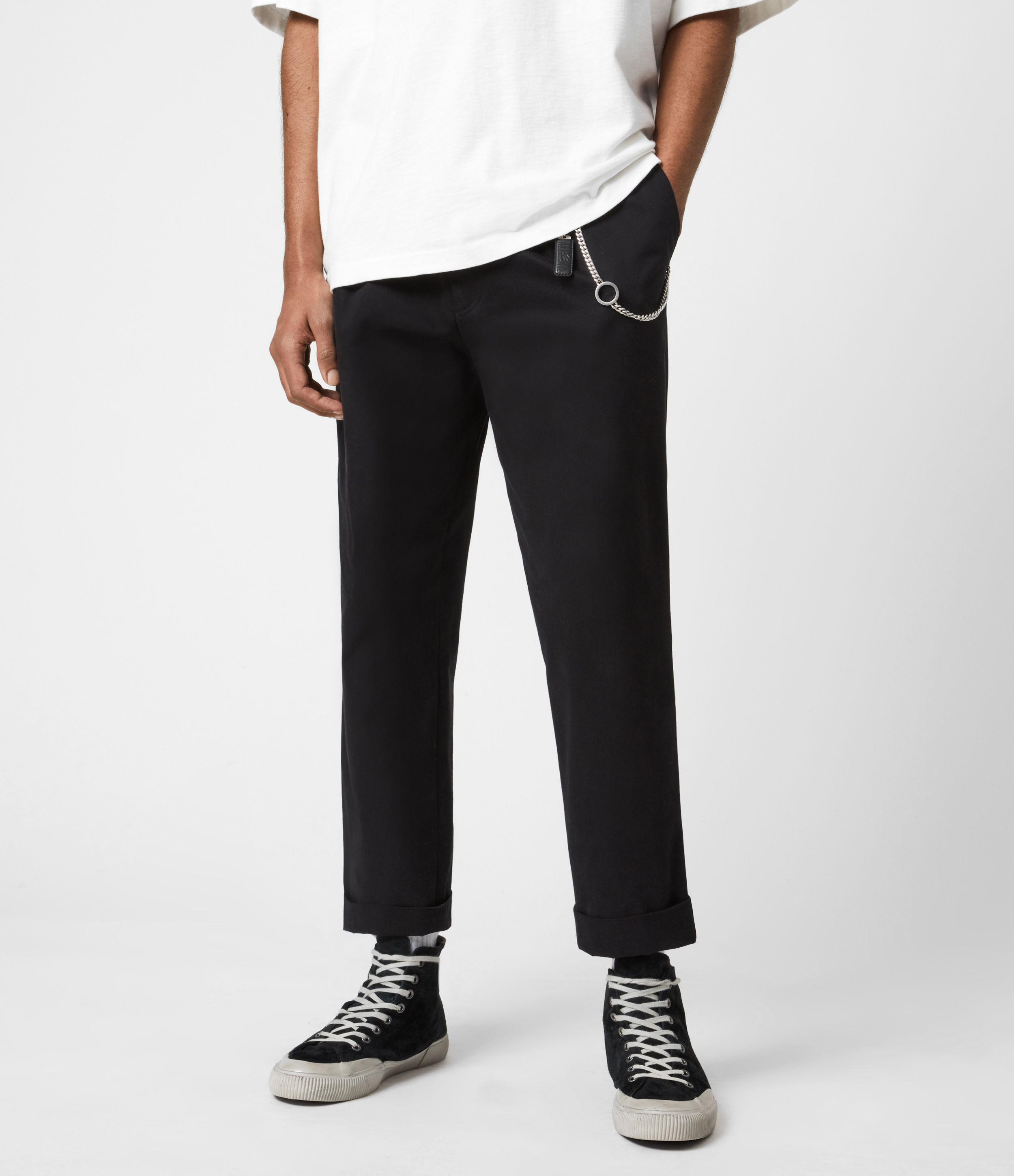 AllSaints Mens Garrett Cropped Straight Trousers, Black, Size: 28