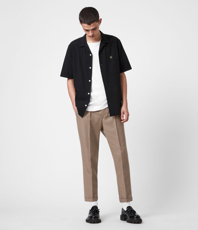 AllSaints Men's Tallis Cropped Slim Trousers, Stone Grey, Size: 34