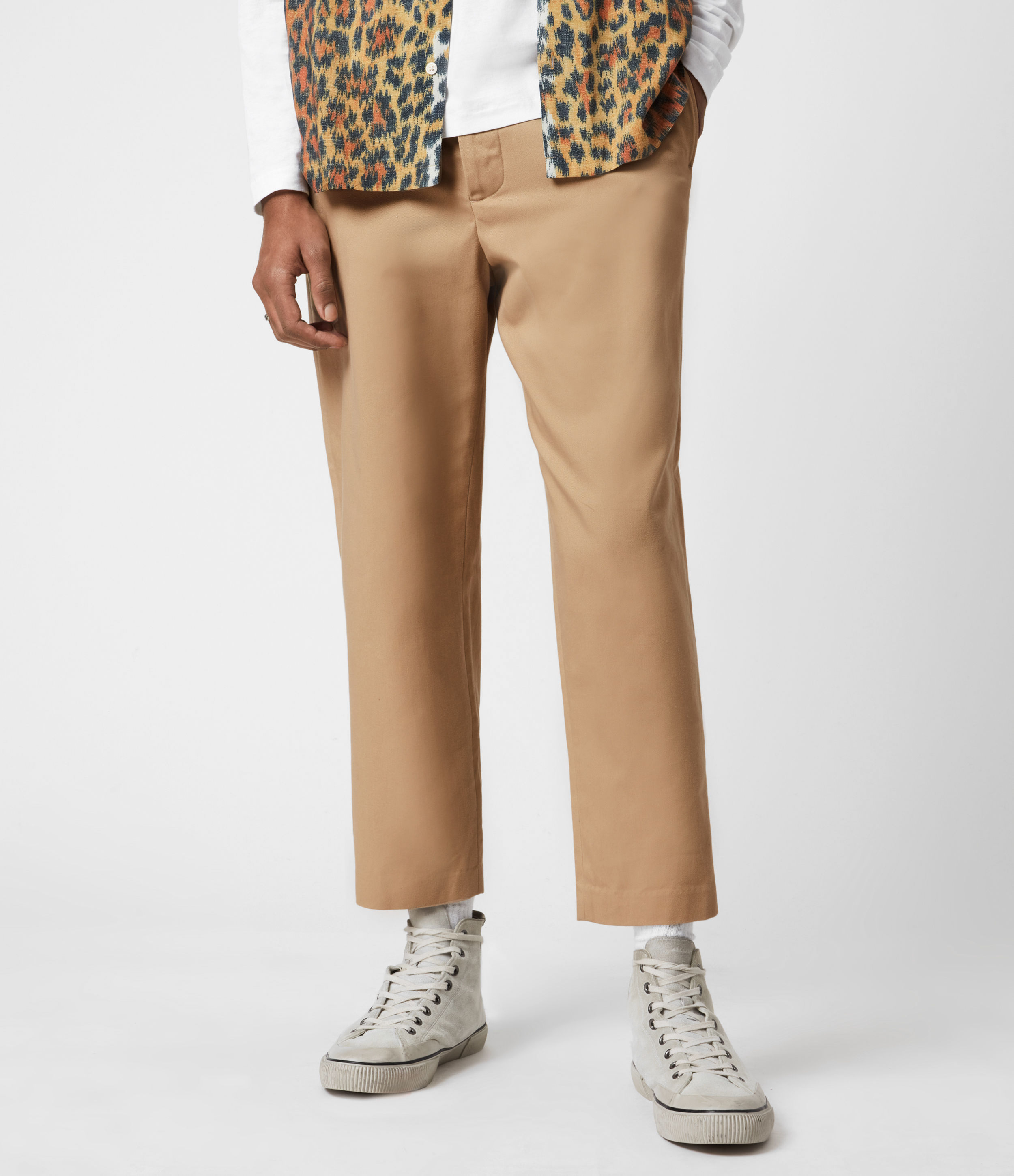 AllSaints Mens Cart Cropped Straight Trousers, Sand, Size: 34