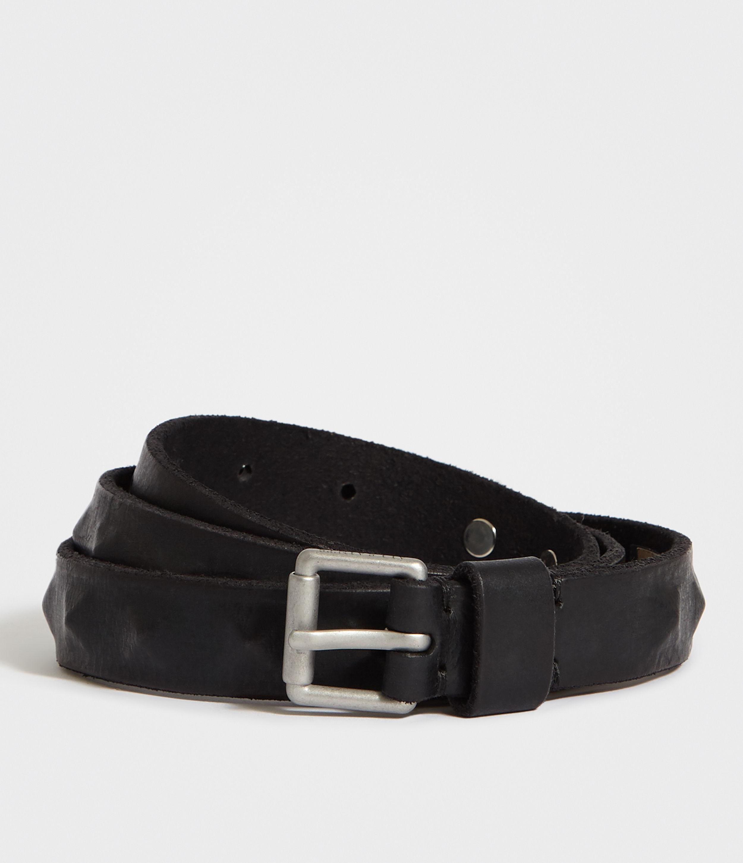 AllSaints Mens Prism Leather Belt, Black, Size: 32