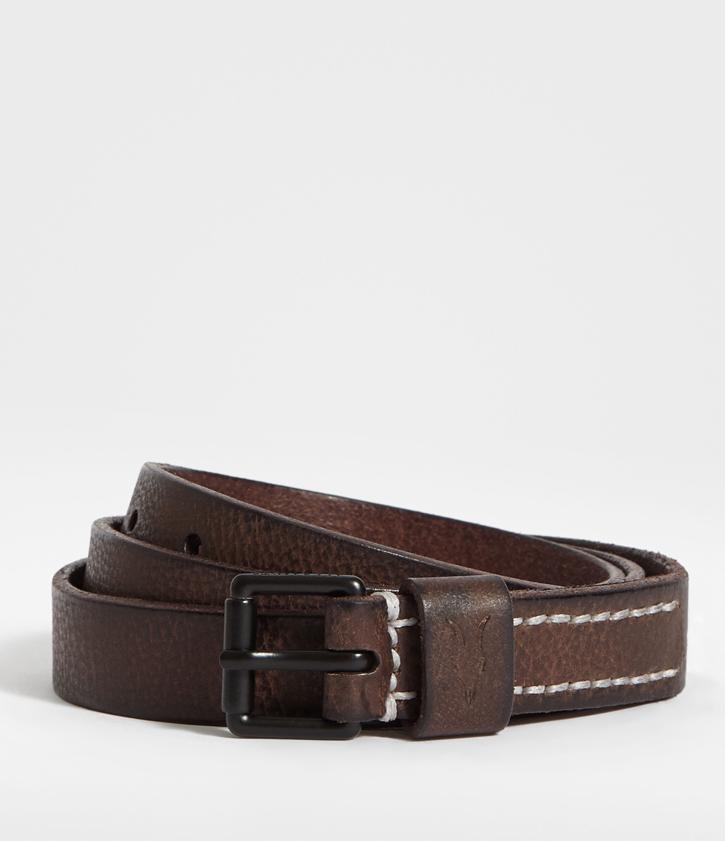 AllSaints Bevan Slim Leather Belt