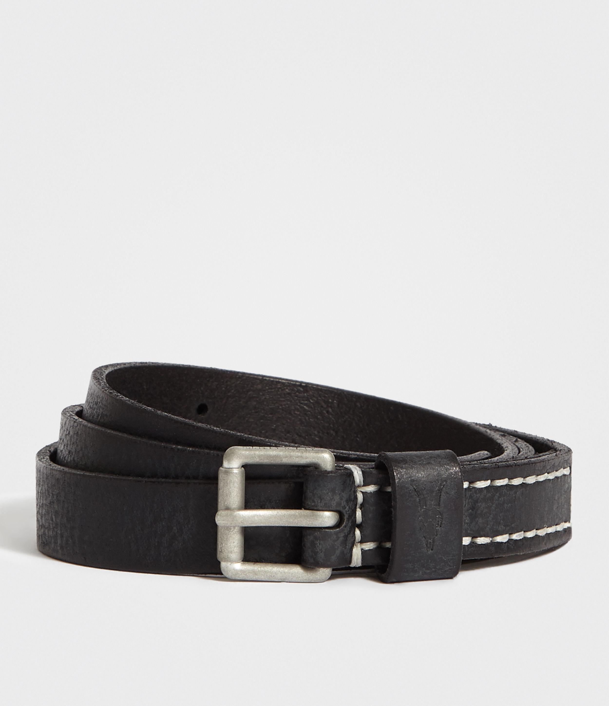 AllSaints Bevan Slim Leather Belt