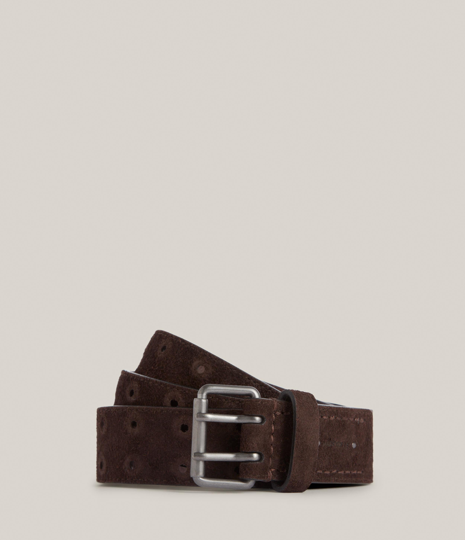 AllSaints Men's Elijah Leather Belt, Bitter Chocolate, Size: 32