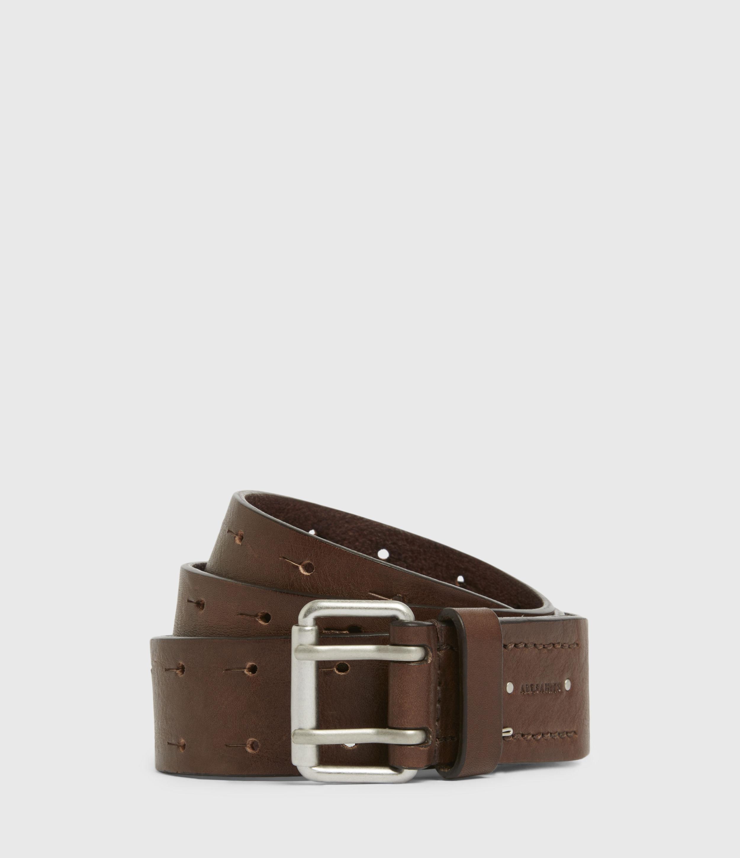 AllSaints Mens Orion Leather Belt, Saddle Brown, Size: 30