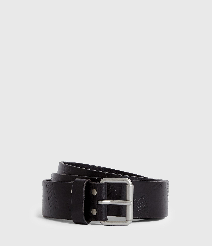 AllSaints Men's Leather Wilder Belt, Black, Size: 34