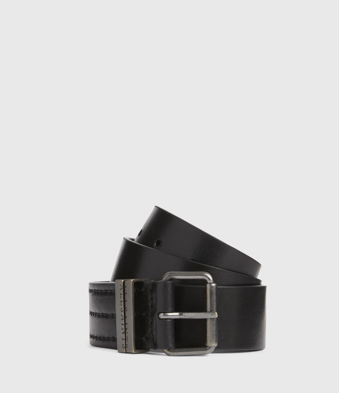 AllSaints Mens Justin Leather Belt, Black, Size: 30