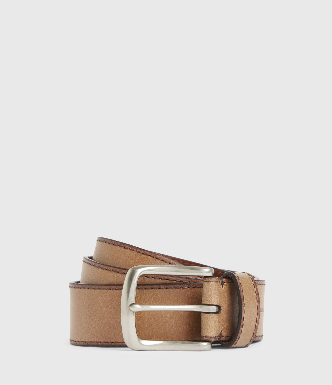 AllSaints Men's Enzo Leather Belt, Acorn Brown, Size: 32