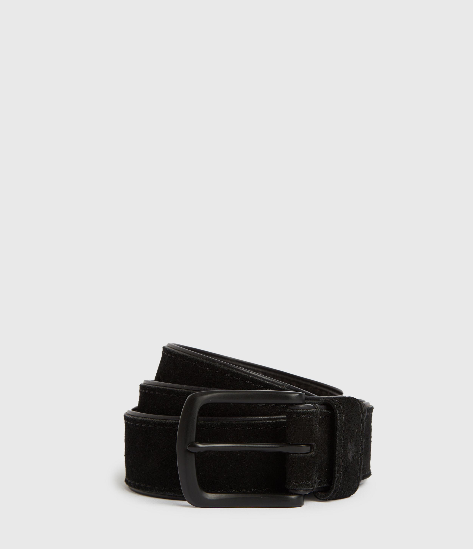 AllSaints Men's Leather Carson Belt, Black, Size: 30