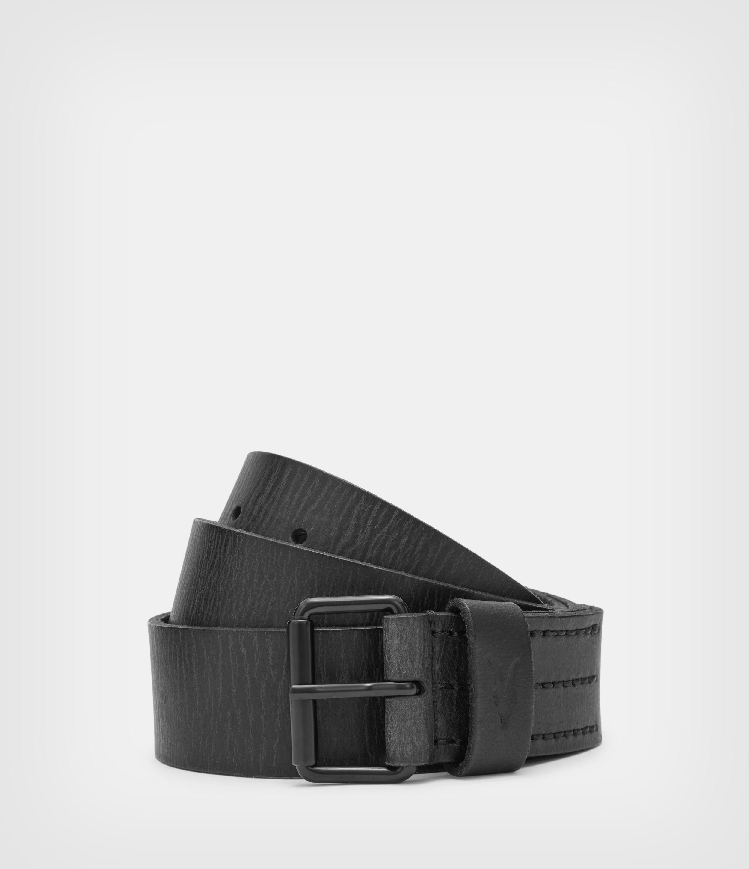 AllSaints Men's Leather Classic Dunston Belt, Black, Size: 32