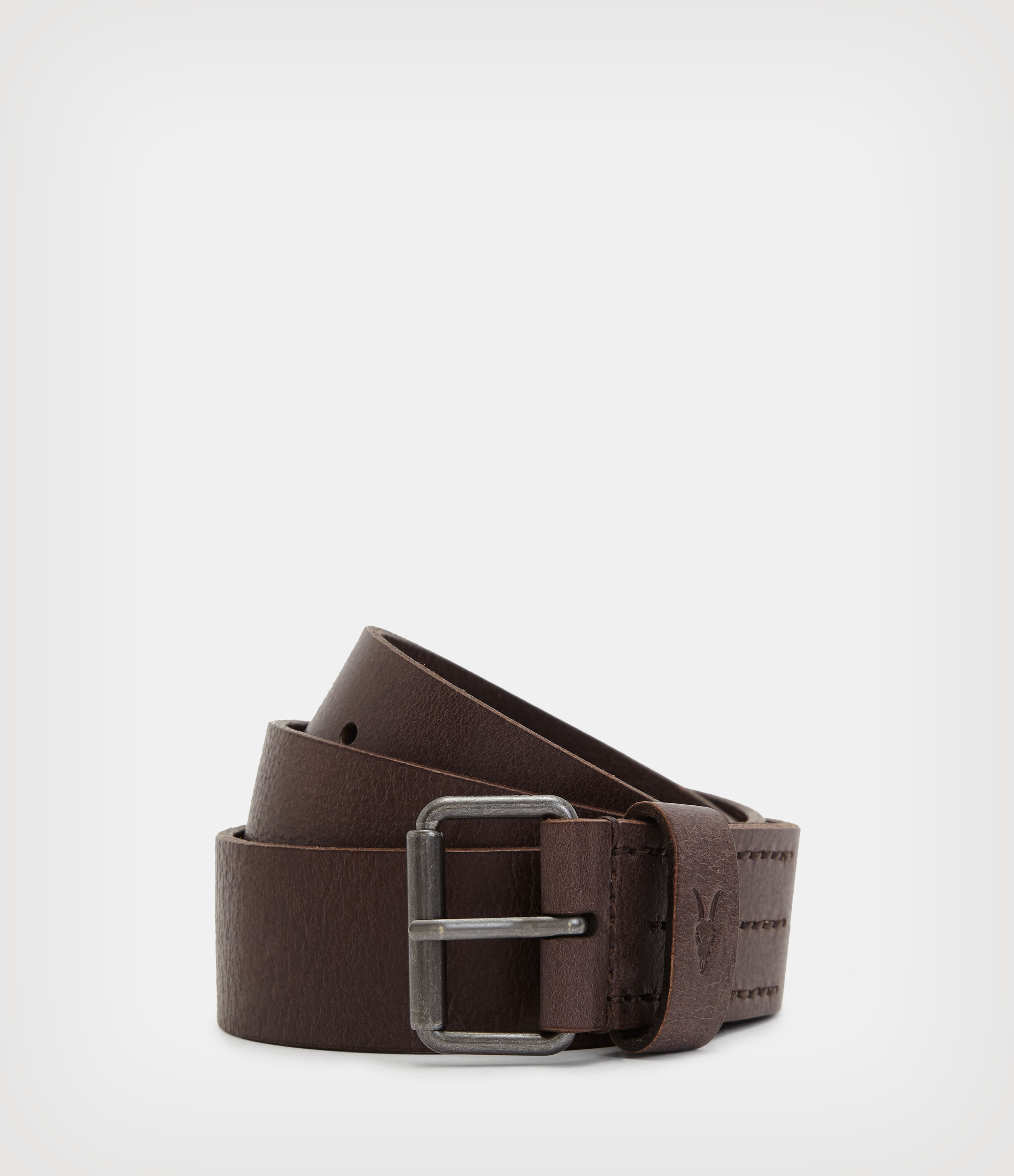 AllSaints Men's Leather Classic Dunston Belt, Brown, Size: 32