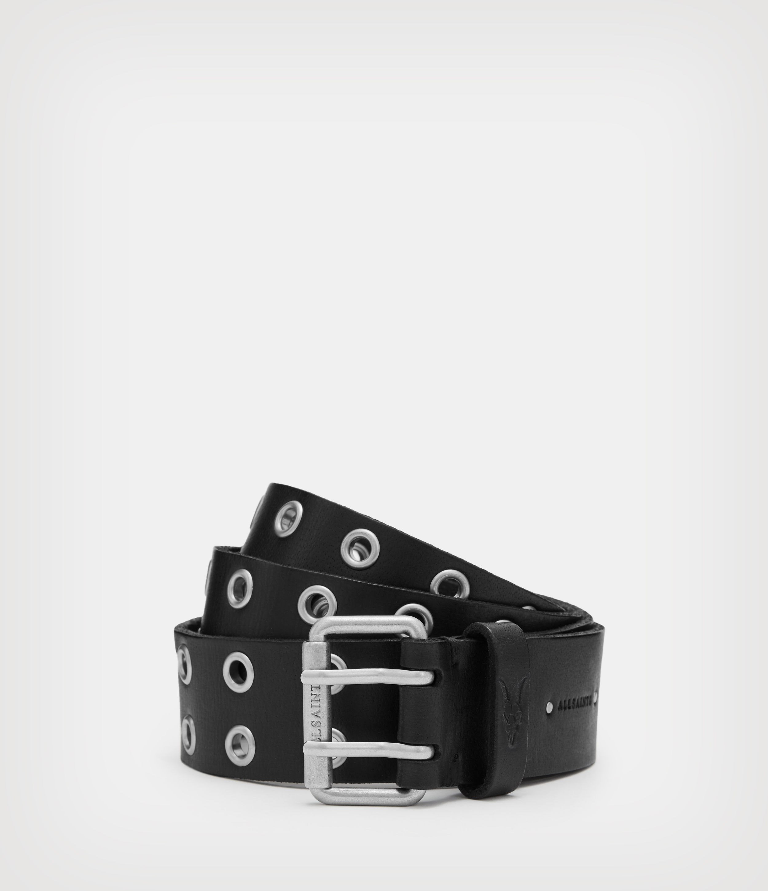 AllSaints Mens Sturge Leather Belt, Black, Size: 38