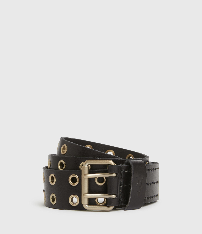 AllSaints Mens Sturge Leather Belt, Black/gold, Size: 34