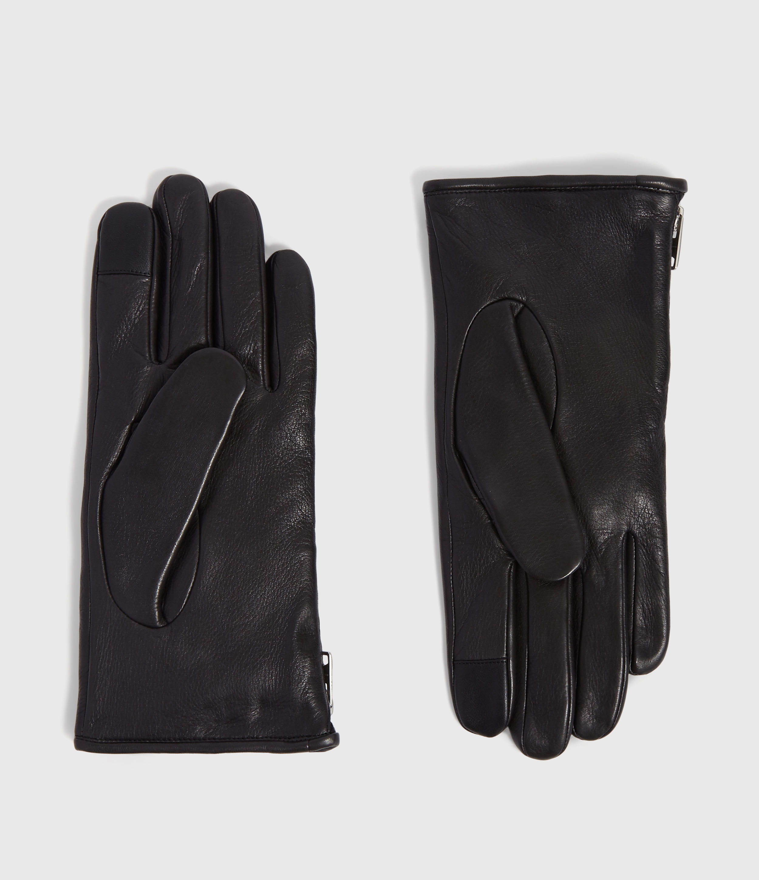 AllSaints Zipper Leather Gloves