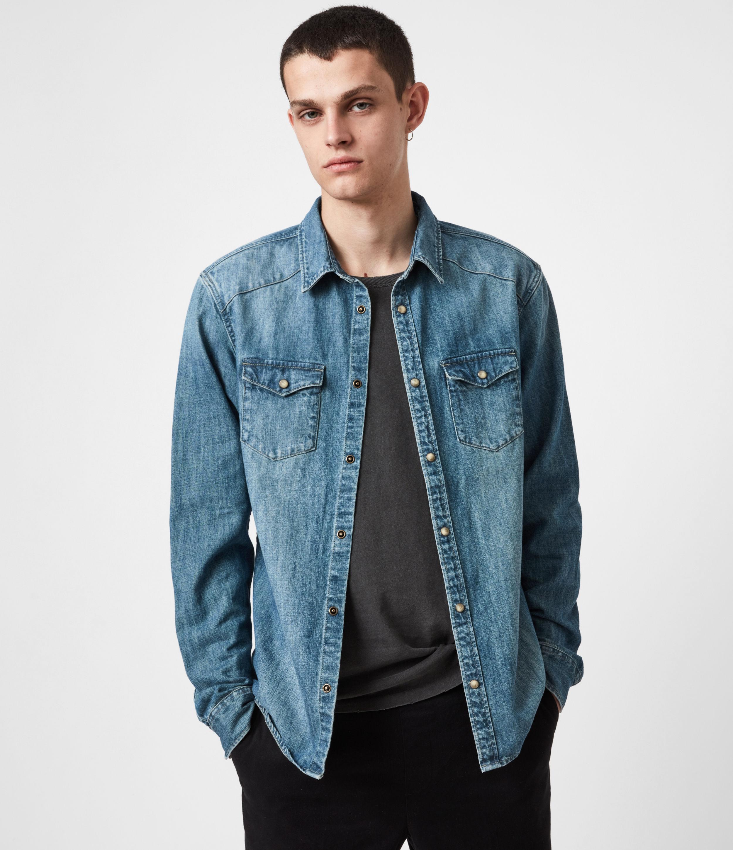 AllSaints Men's Denning Denim Shirt, Dark Indigo, Size: XL