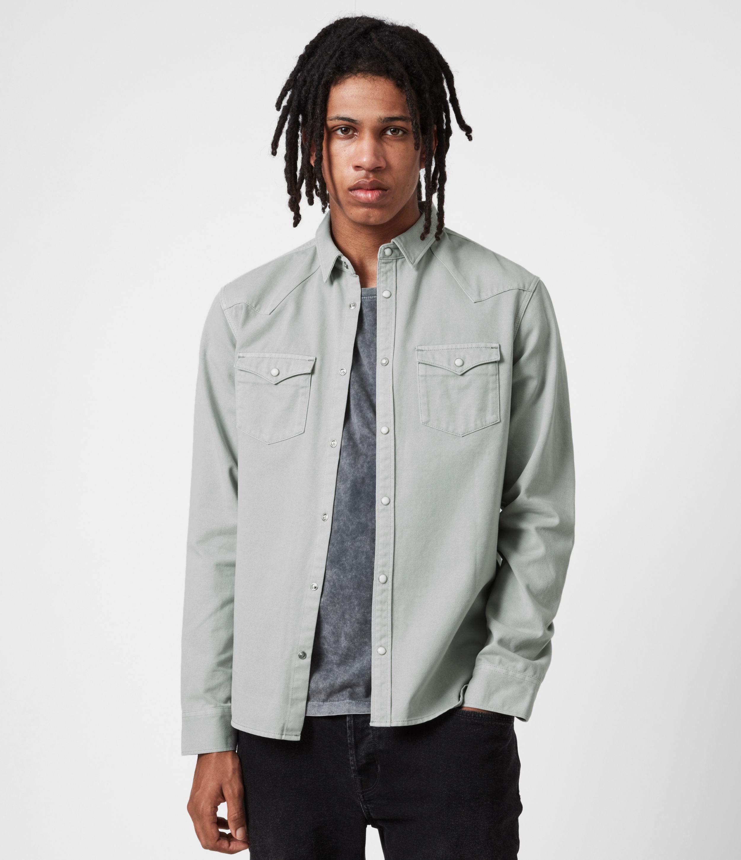 AllSaints Men's Tubac Denim Shirt, Cloud Grey, Size: M