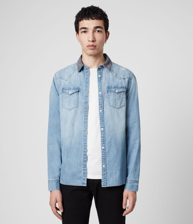 AllSaints Mens Dearne Denim Shirt, Mid Indigo, Size: XS