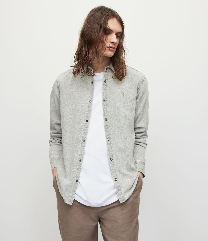 AllSaints Mens Gleason Denim Shirt, Grey, Size: XL