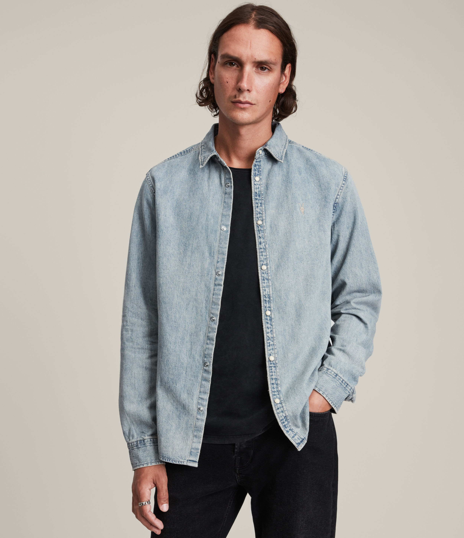 AllSaints Men's Kirton Shirt, Tinted Indigo, Size: M