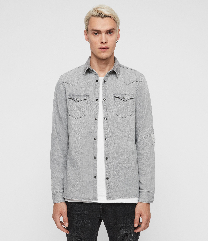 AllSaints Men's Cotton Regular Fit Giro Denim Shirt, Grey, Size: XS