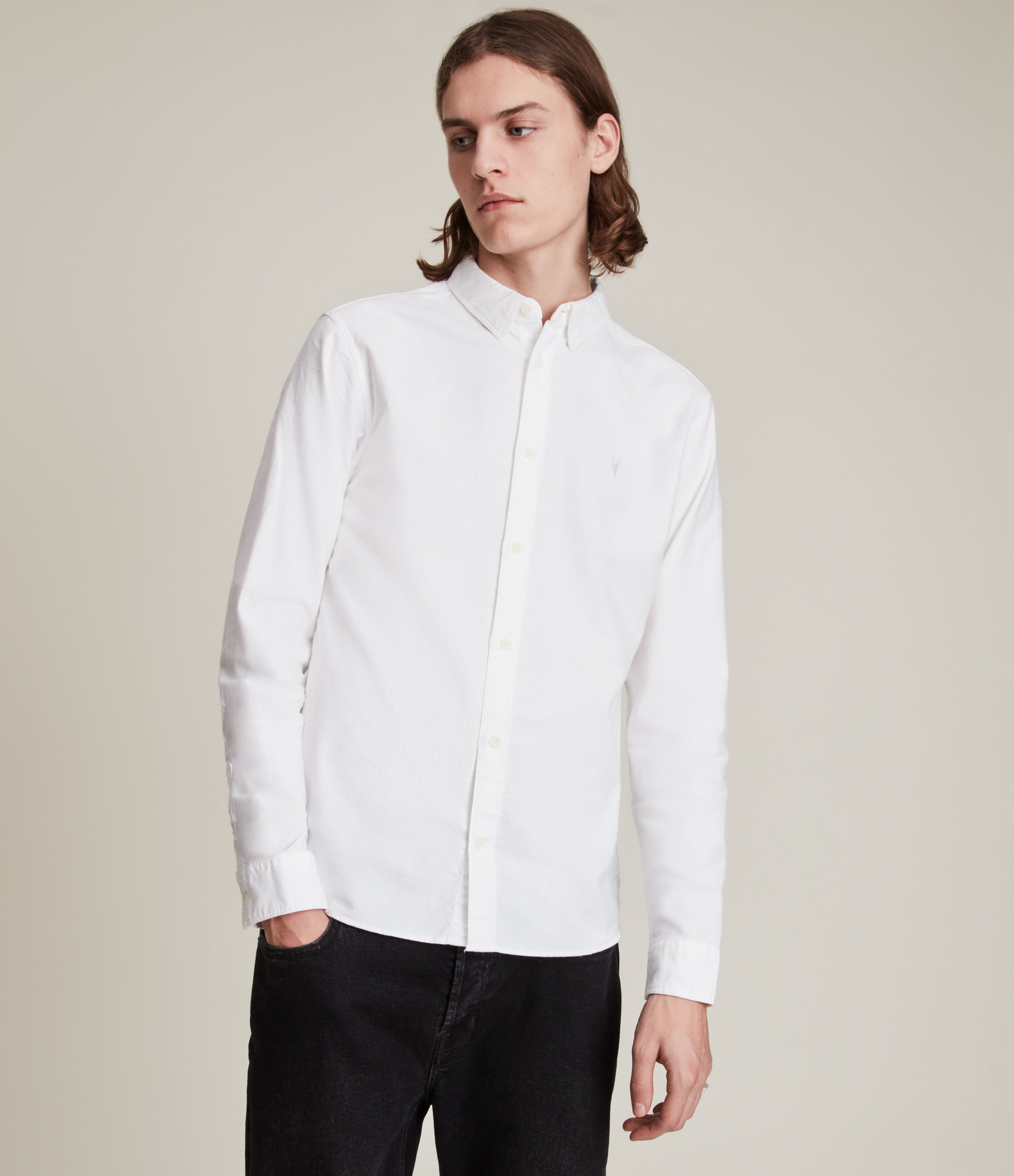 AllSaints Men's Cotton Slim Fit Huntingdon Long Sleeve Shirt, White, Size: L