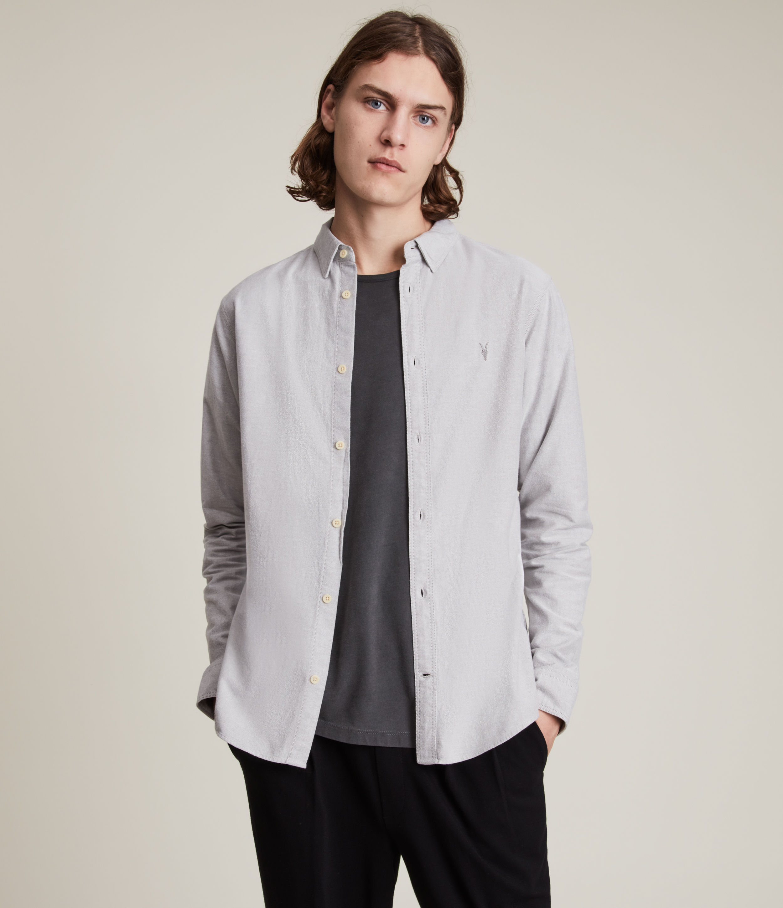 AllSaints Men's Cotton Slim Fit Huntingdon Long Sleeve Shirt, Grey, Size: L