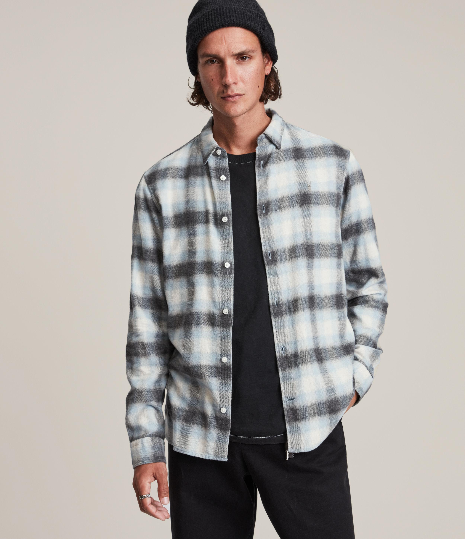 AllSaints Men's Ithaca Shirt, Blue/White/Grey, Size: L