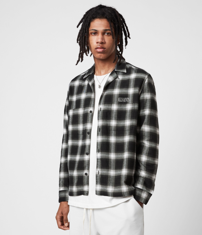AllSaints Mens Irvington Shirt, Black, Size: XS