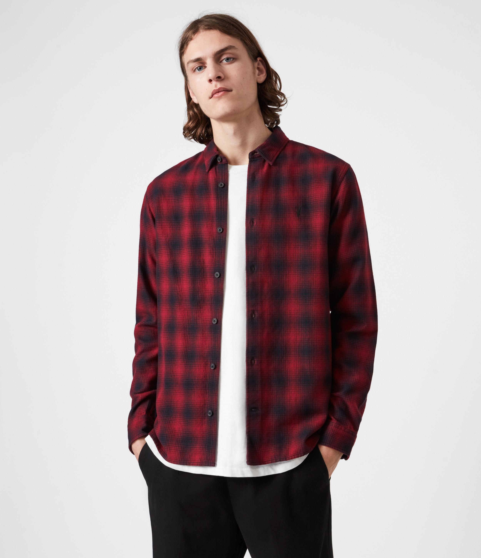 AllSaints Men's Ewing Shirt, Red and Black, Size: L