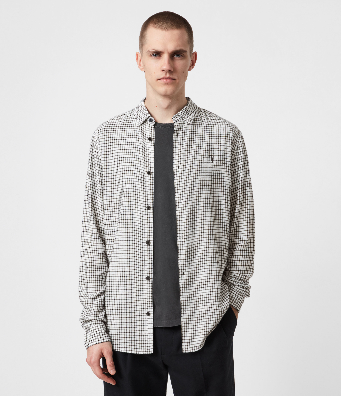 AllSaints Men's Cotton Check Slim Fit Tilden Shirt, Black and Grey, Size: XS
