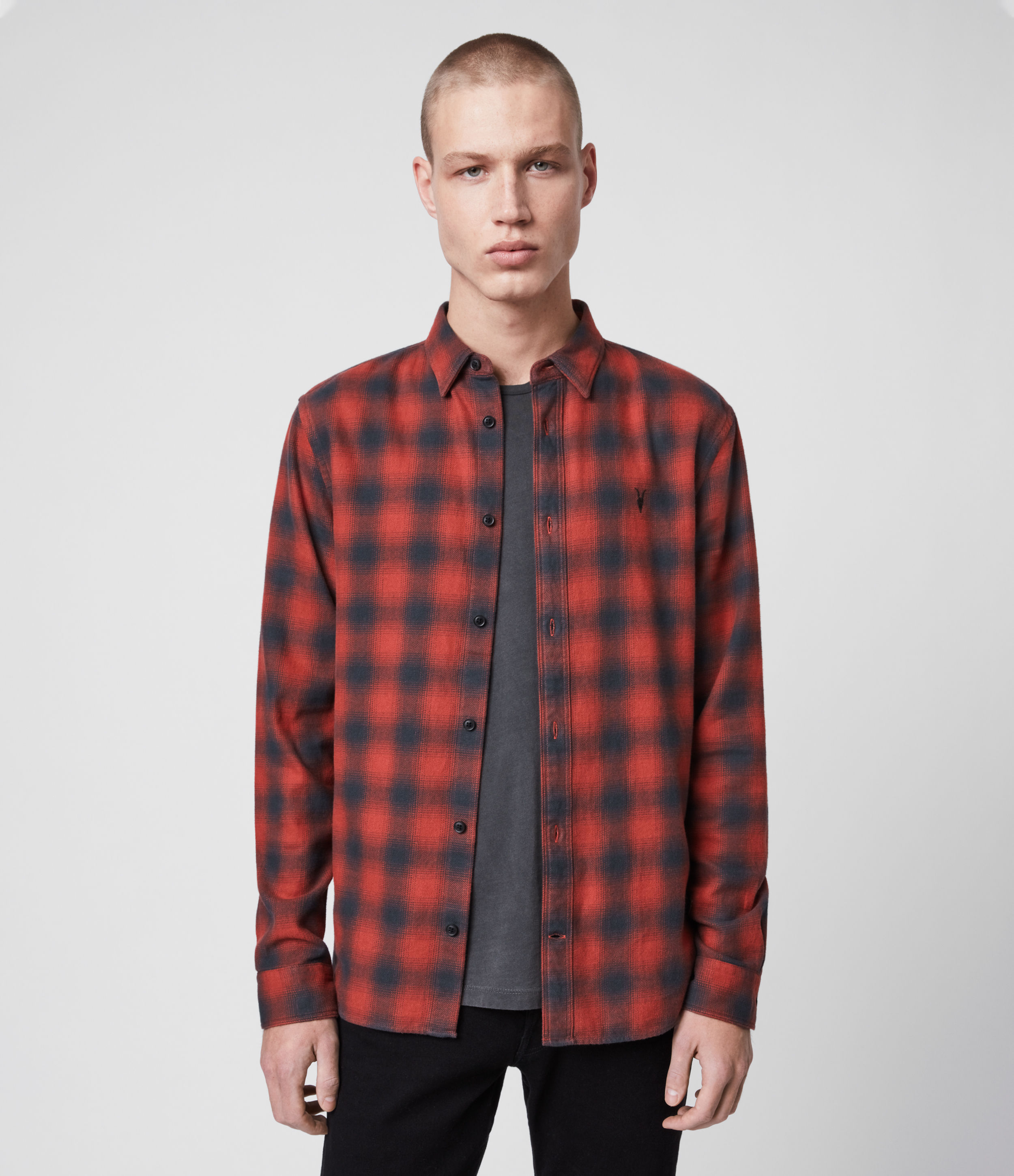 AllSaints Men's Cotton Check Slim Fit Catalpa Shirt, Red and Blue, Size: M