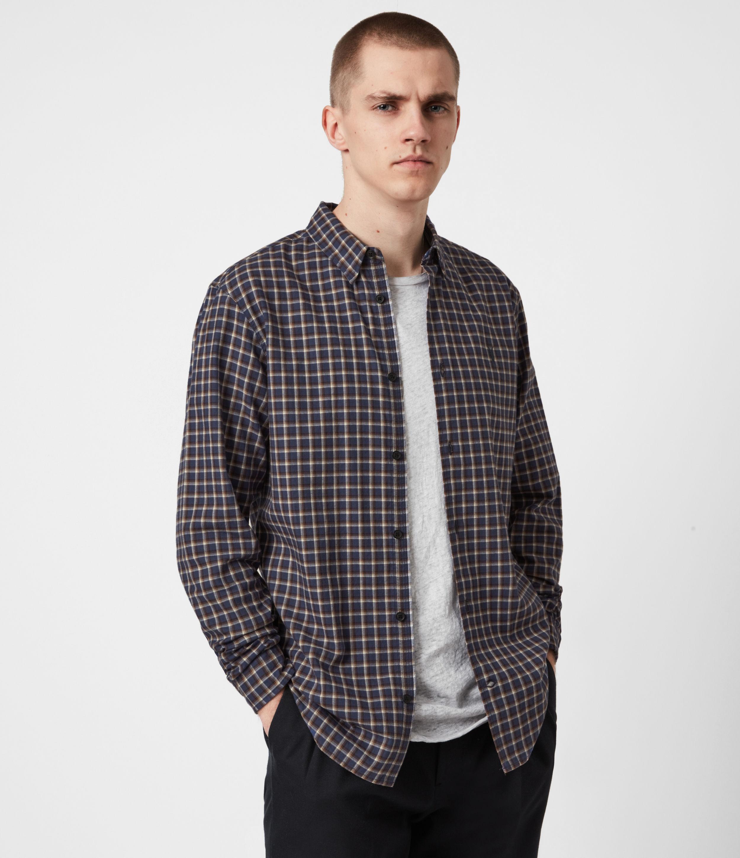 AllSaints Men's Deming Shirt, Blue, Size: XS