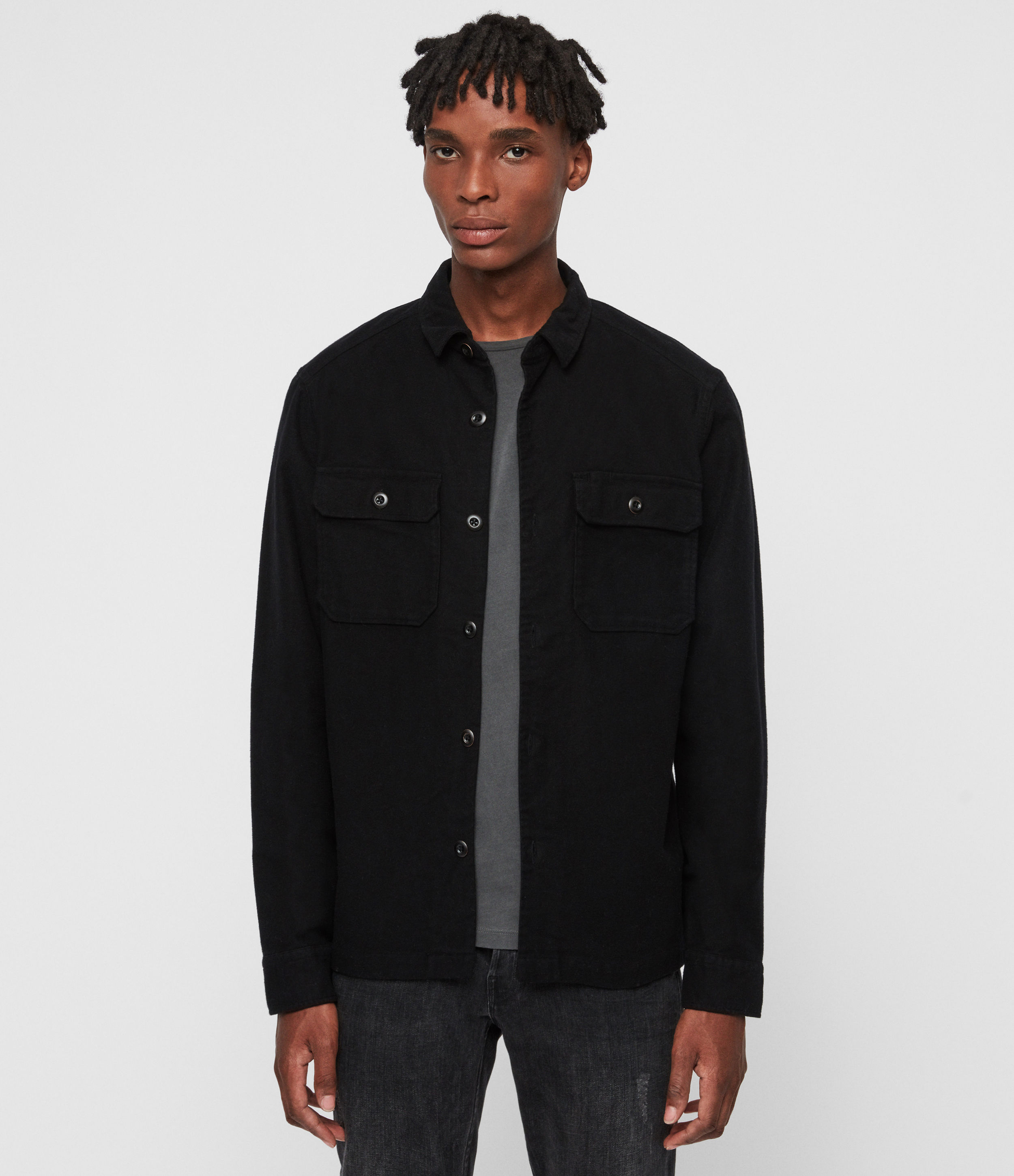 AllSaints Men's Regular Fit Cotton Medium Humboldt Long Sleeve Shirt, Black, Size: XS