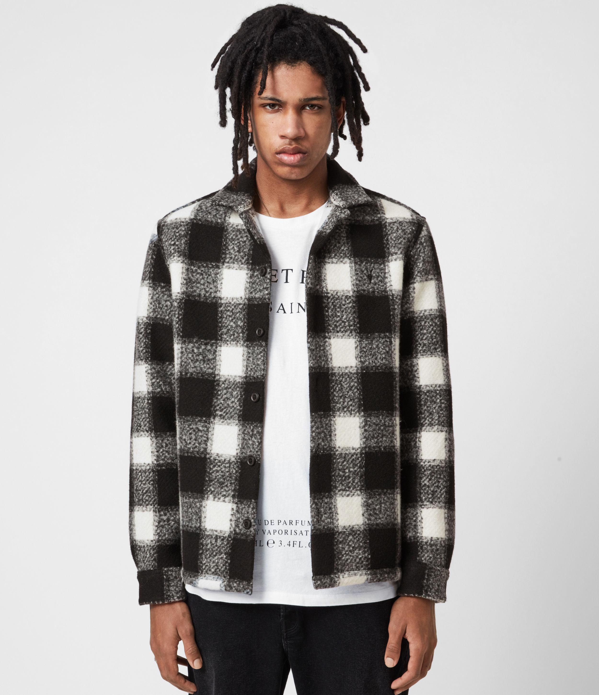 AllSaints Mens Oberlin Shirt, Ecru, Size: L